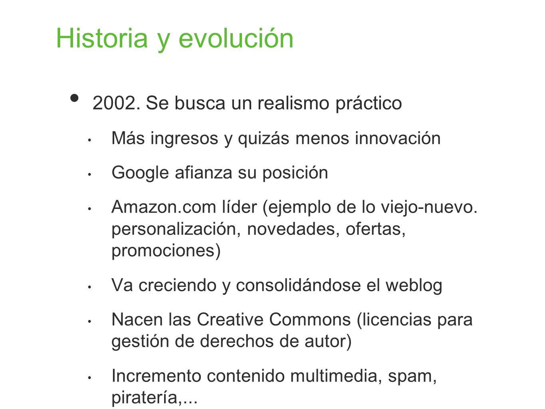 Historia y evolución 2002. Se busca un realismo práctico Más ingresos y quizás menos innovación Google afianza su posición Amazon.com líder (ejemplo d