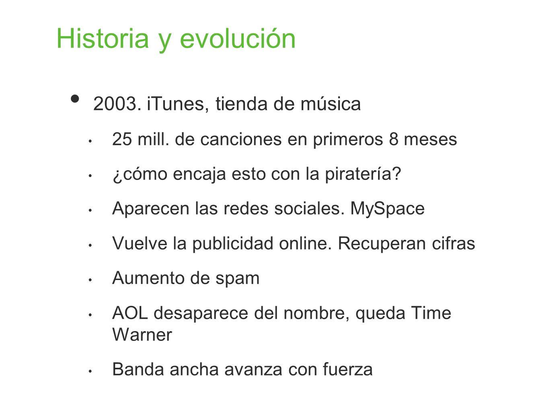 Historia y evolución 2003. iTunes, tienda de música 25 mill. de canciones en primeros 8 meses ¿cómo encaja esto con la piratería? Aparecen las redes s