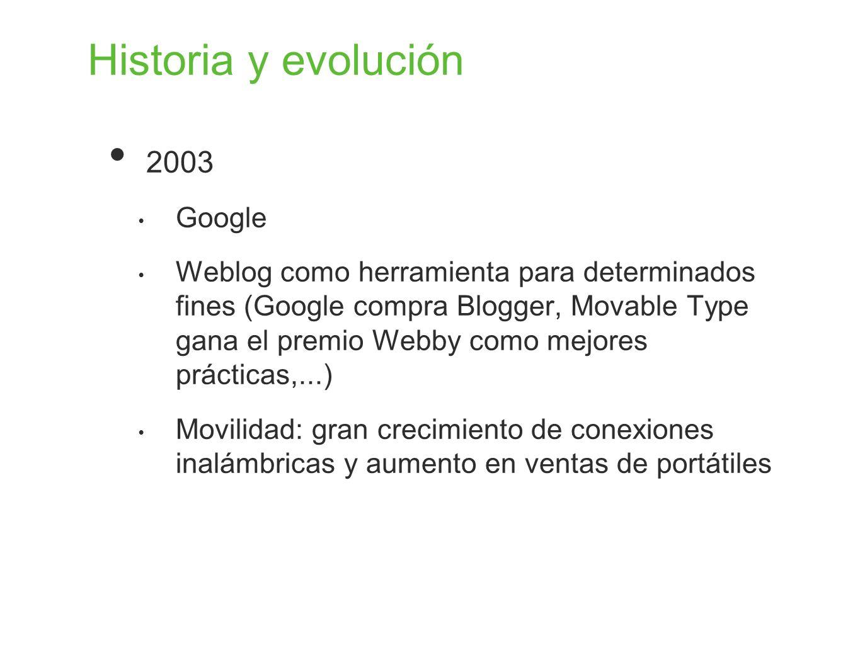 Historia y evolución 2003 Google Weblog como herramienta para determinados fines (Google compra Blogger, Movable Type gana el premio Webby como mejore