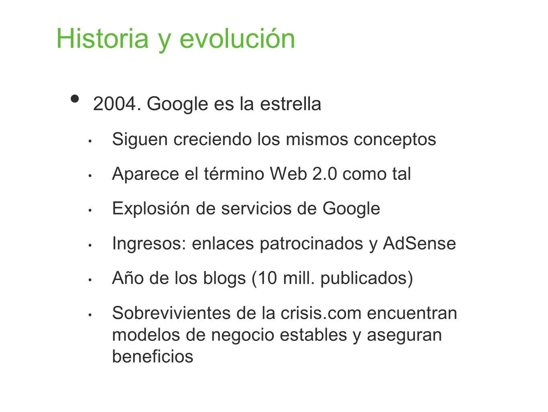 Historia y evolución 2004. Google es la estrella Siguen creciendo los mismos conceptos Aparece el término Web 2.0 como tal Explosión de servicios de G