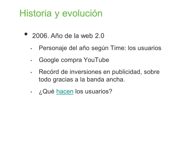 Historia y evolución 2006. Año de la web 2.0 Personaje del año según Time: los usuarios Google compra YouTube Recórd de inversiones en publicidad, sob