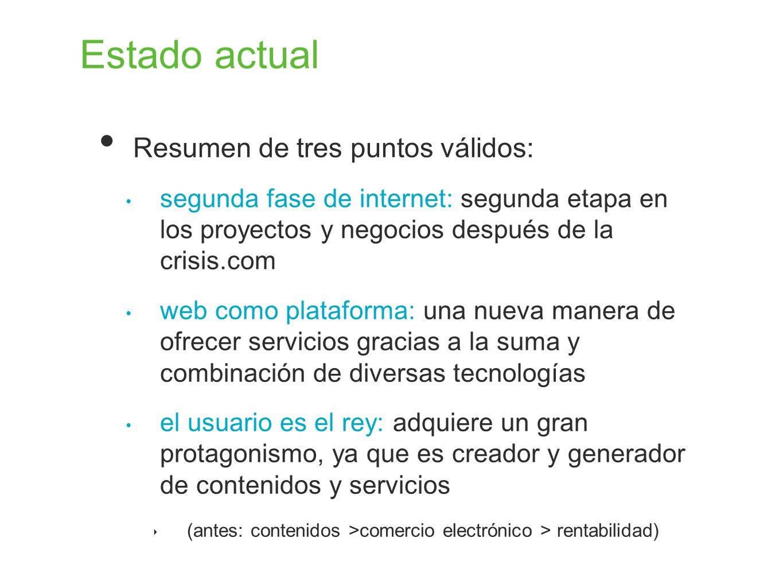 Estado actual Resumen de tres puntos válidos: segunda fase de internet: segunda etapa en los proyectos y negocios después de la crisis.com web como pl