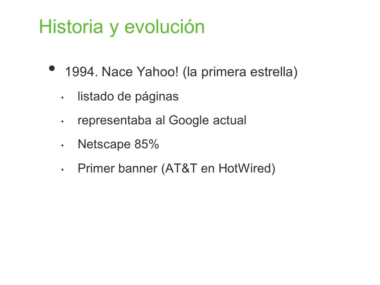 Historia y evolución 1994. Nace Yahoo! (la primera estrella) listado de páginas representaba al Google actual Netscape 85% Primer banner (AT&T en HotW