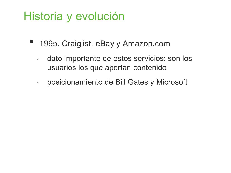 Historia y evolución 1995. Craiglist, eBay y Amazon.com dato importante de estos servicios: son los usuarios los que aportan contenido posicionamiento