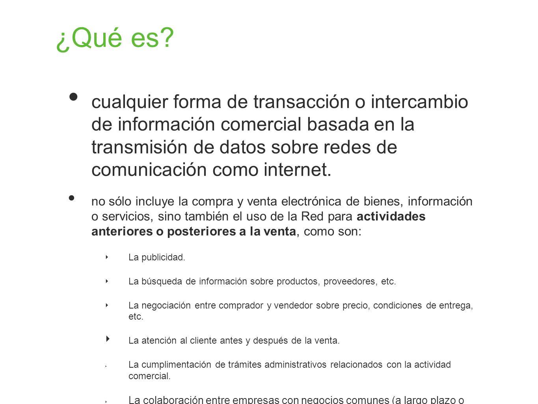 ¿Qué es? cualquier forma de transacción o intercambio de información comercial basada en la transmisión de datos sobre redes de comunicación como inte