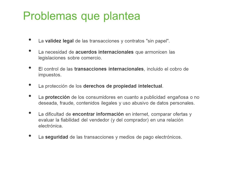 Problemas que plantea La validez legal de las transacciones y contratos