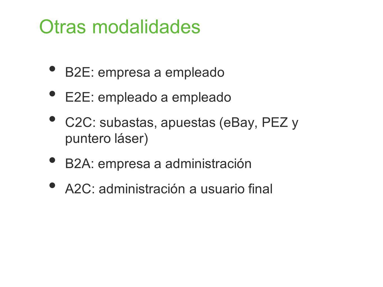 Otras modalidades B2E: empresa a empleado E2E: empleado a empleado C2C: subastas, apuestas (eBay, PEZ y puntero láser) B2A: empresa a administración A