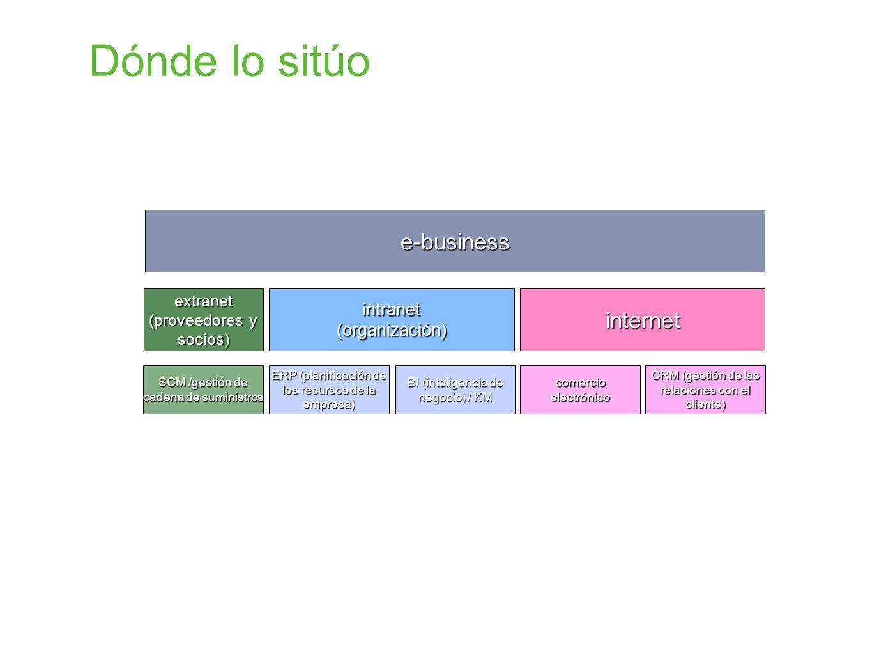 Dónde lo sitúo e-business intranet(organización)extranet (proveedores y socios) internet ERP (planificación de los recursos de la empresa) BI (intelig
