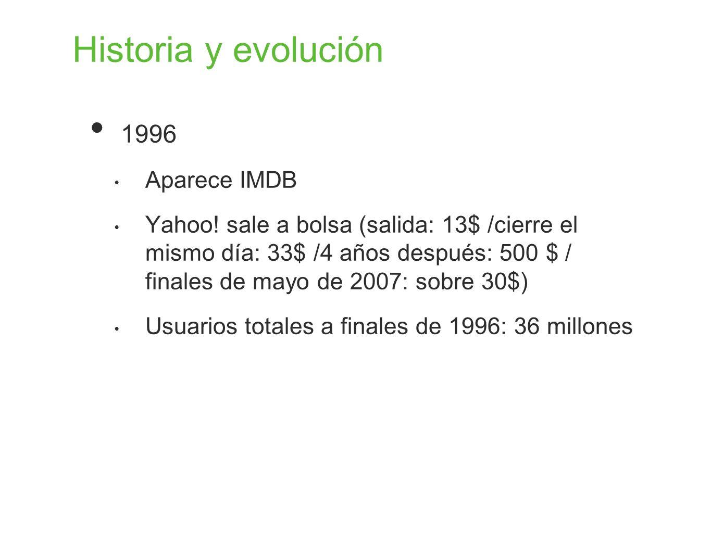 Historia y evolución 1996 Aparece IMDB Yahoo! sale a bolsa (salida: 13$ /cierre el mismo día: 33$ /4 años después: 500 $ / finales de mayo de 2007: so