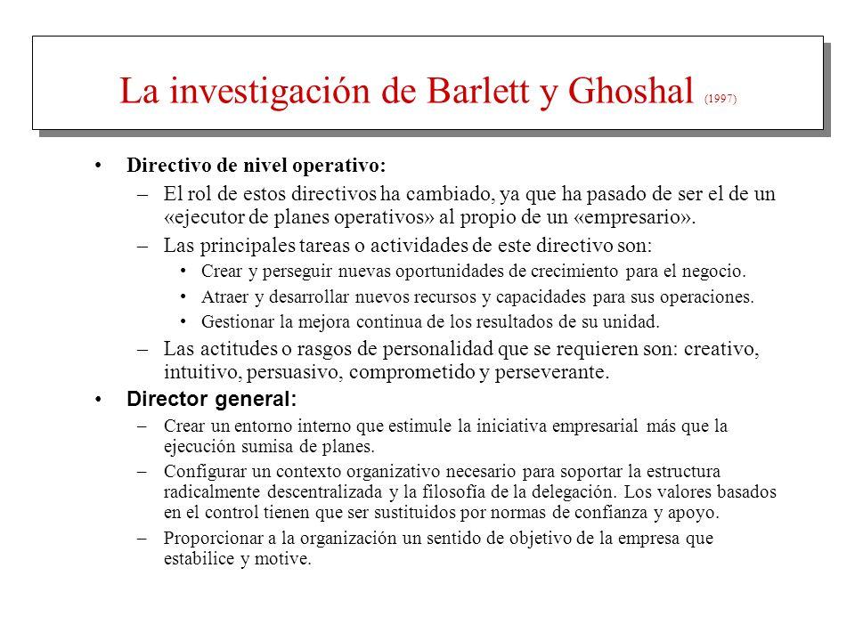 La investigación de Barlett y Ghoshal (1997) Directivo de nivel operativo: –El rol de estos directivos ha cambiado, ya que ha pasado de ser el de un «