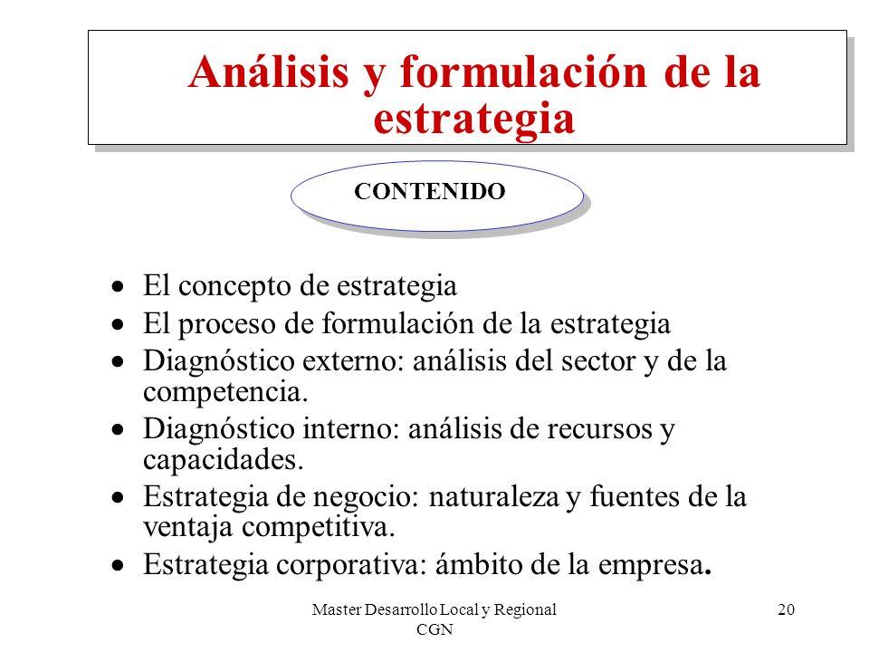 Master Desarrollo Local y Regional CGN 20 Análisis y formulación de la estrategia El concepto de estrategia El proceso de formulación de la estrategia