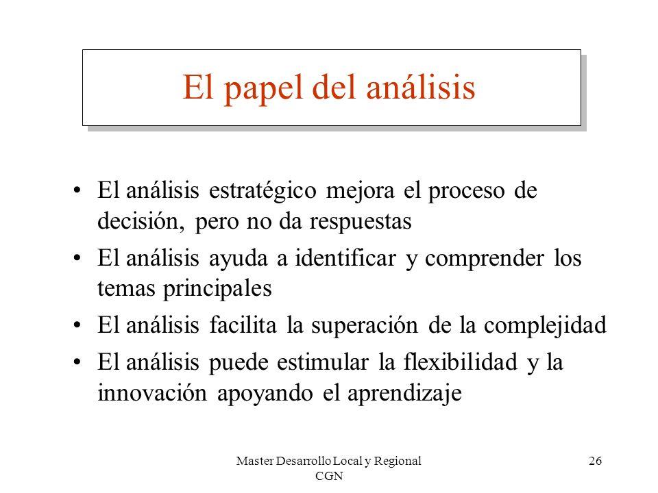 Master Desarrollo Local y Regional CGN 26 El papel del análisis El análisis estratégico mejora el proceso de decisión, pero no da respuestas El anális