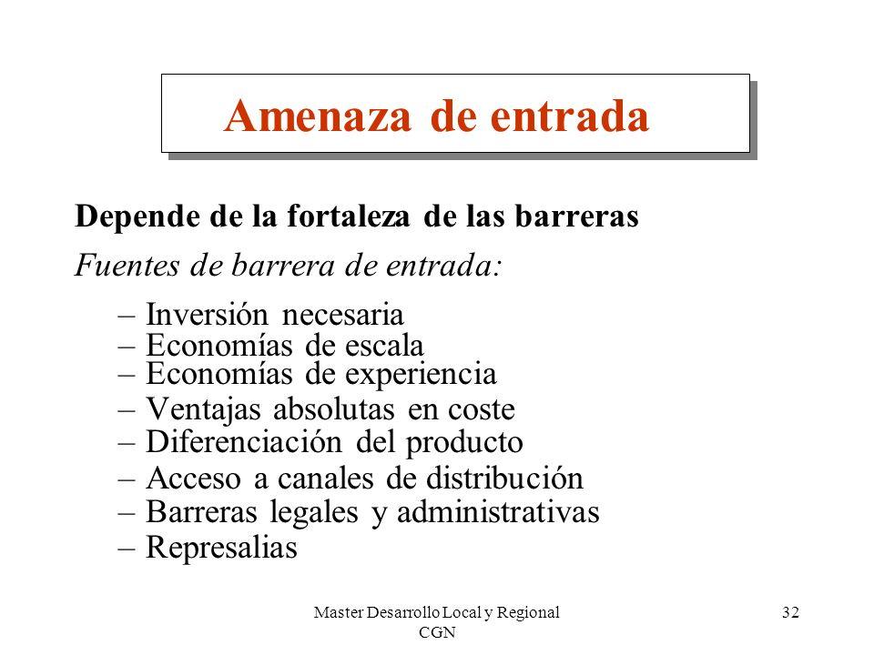 Master Desarrollo Local y Regional CGN 32 Amenaza de entrada Depende de la fortaleza de las barreras Fuentes de barrera de entrada: –Inversión necesar