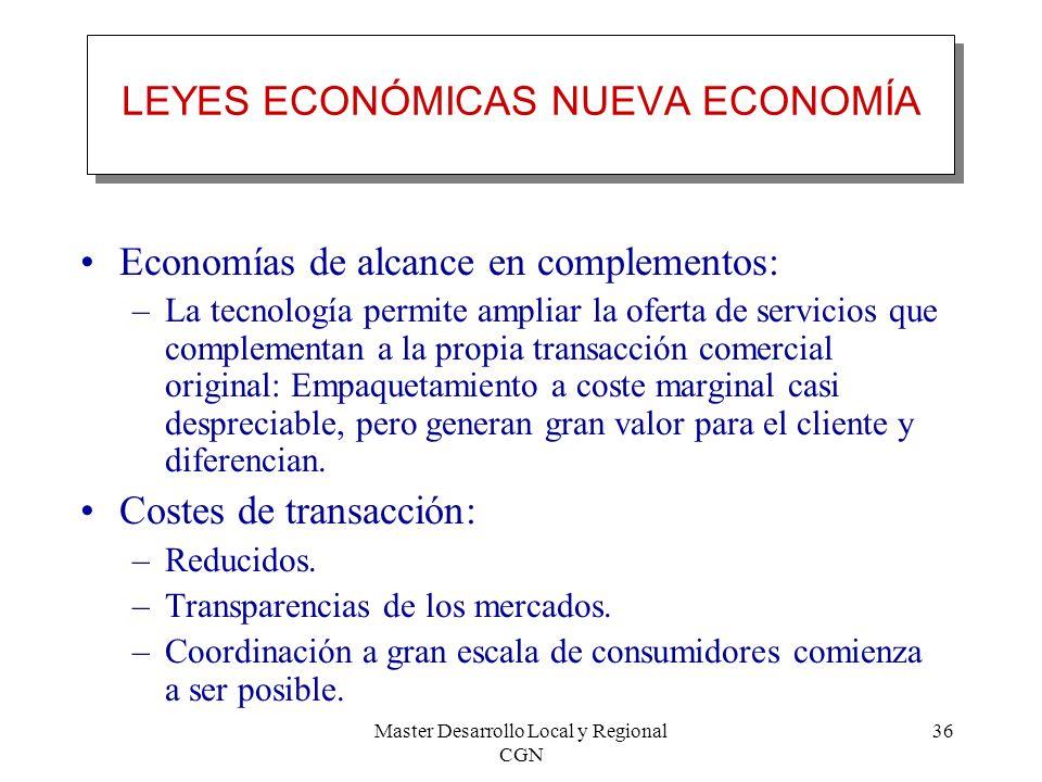 Master Desarrollo Local y Regional CGN 36 LEYES ECONÓMICAS NUEVA ECONOMÍA Economías de alcance en complementos: –La tecnología permite ampliar la ofer