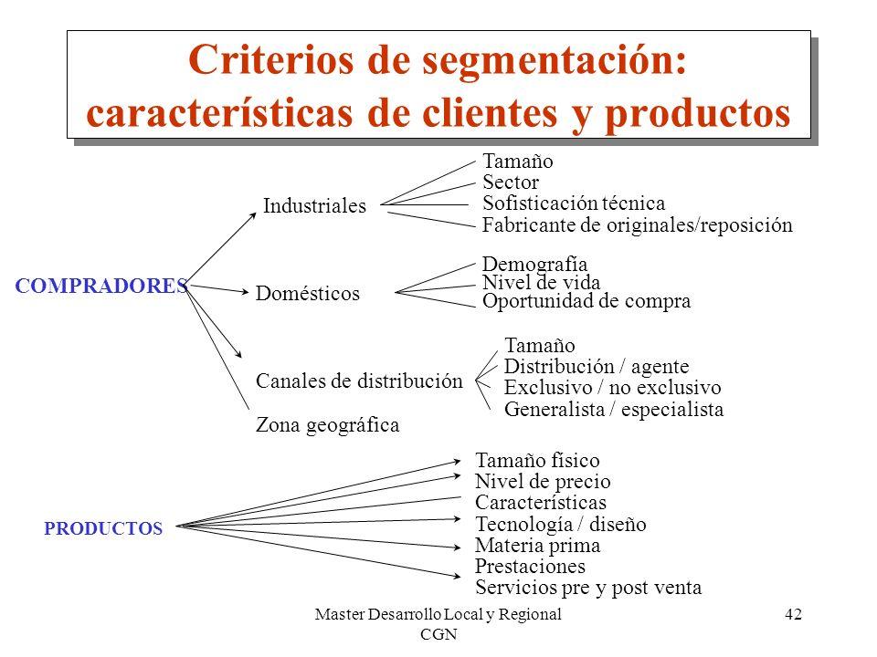 Master Desarrollo Local y Regional CGN 42 Criterios de segmentación: características de clientes y productos COMPRADORES Industriales Domésticos Tamañ