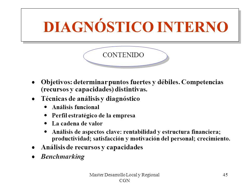 Master Desarrollo Local y Regional CGN 45 DIAGNÓSTICO INTERNO Objetivos: determinar puntos fuertes y débiles. Competencias (recursos y capacidades) di
