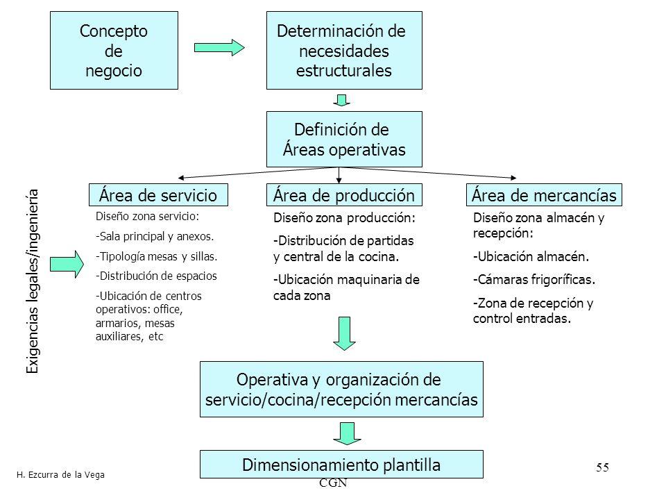 Master Desarrollo Local y Regional CGN 55 Concepto de negocio Determinación de necesidades estructurales Definición de Áreas operativas Área de servic