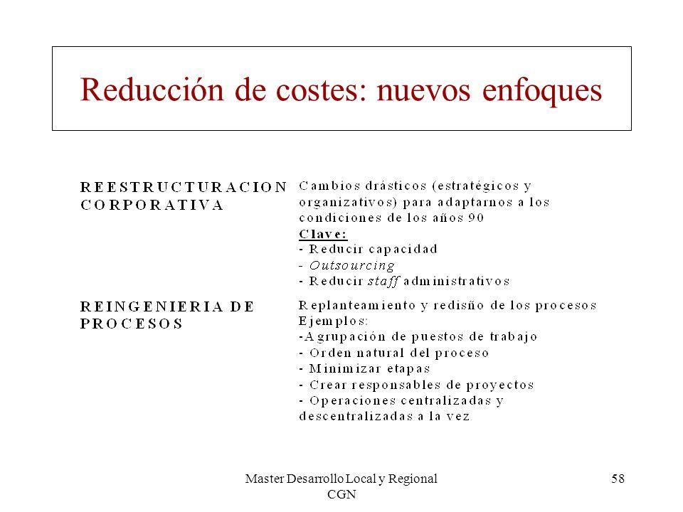 Master Desarrollo Local y Regional CGN 58 Reducción de costes: nuevos enfoques