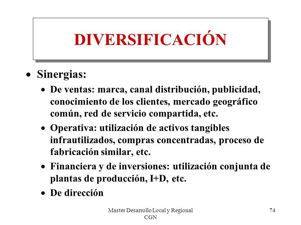 Master Desarrollo Local y Regional CGN 74 DIVERSIFICACIÓN Sinergias: De ventas: marca, canal distribución, publicidad, conocimiento de los clientes, m