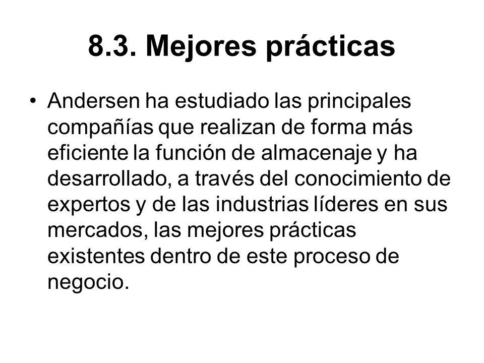 8.3. Mejores prácticas Andersen ha estudiado las principales compañías que realizan de forma más eficiente la función de almacenaje y ha desarrollado,