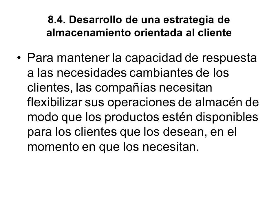 8.4. Desarrollo de una estrategia de almacenamiento orientada al cliente Para mantener la capacidad de respuesta a las necesidades cambiantes de los c