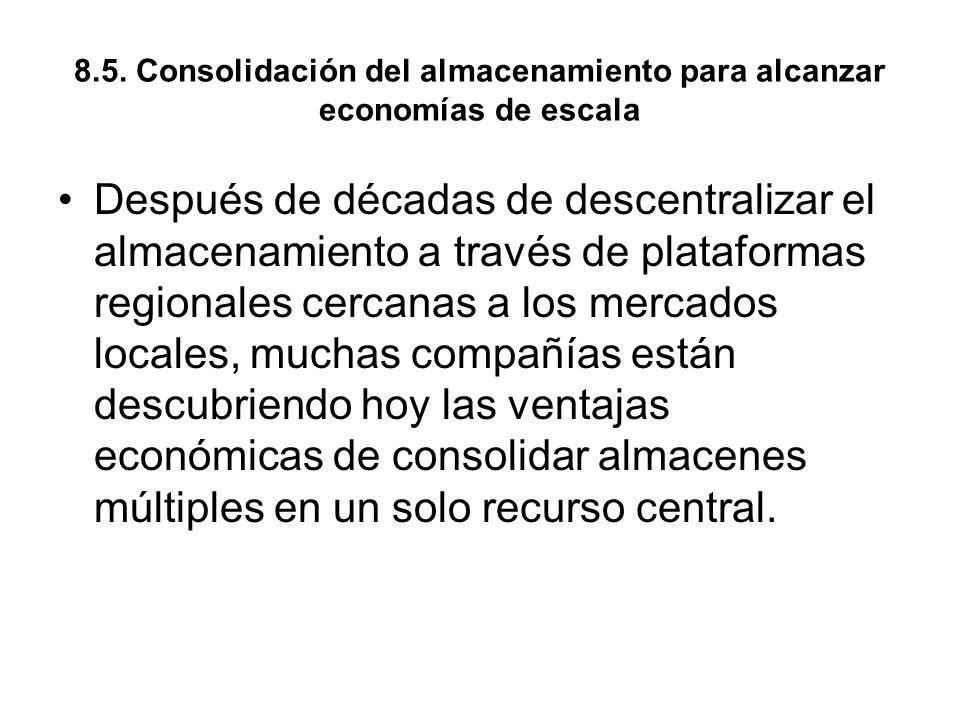 8.5. Consolidación del almacenamiento para alcanzar economías de escala Después de décadas de descentralizar el almacenamiento a través de plataformas