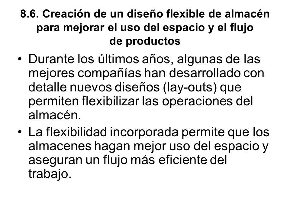 8.6. Creación de un diseño flexible de almacén para mejorar el uso del espacio y el flujo de productos Durante los últimos años, algunas de las mejore