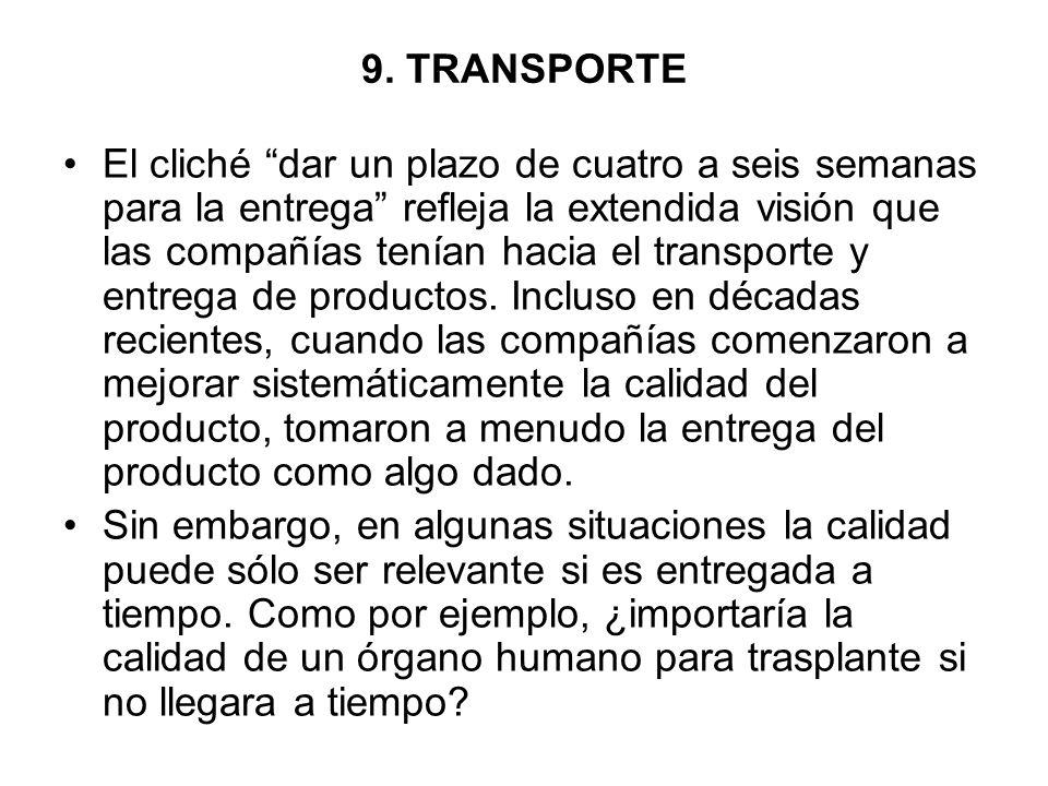 9. TRANSPORTE El cliché dar un plazo de cuatro a seis semanas para la entrega refleja la extendida visión que las compañías tenían hacia el transporte