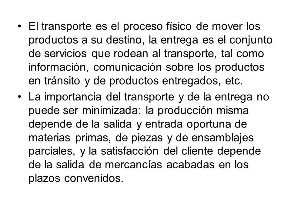 El transporte es el proceso físico de mover los productos a su destino, la entrega es el conjunto de servicios que rodean al transporte, tal como info