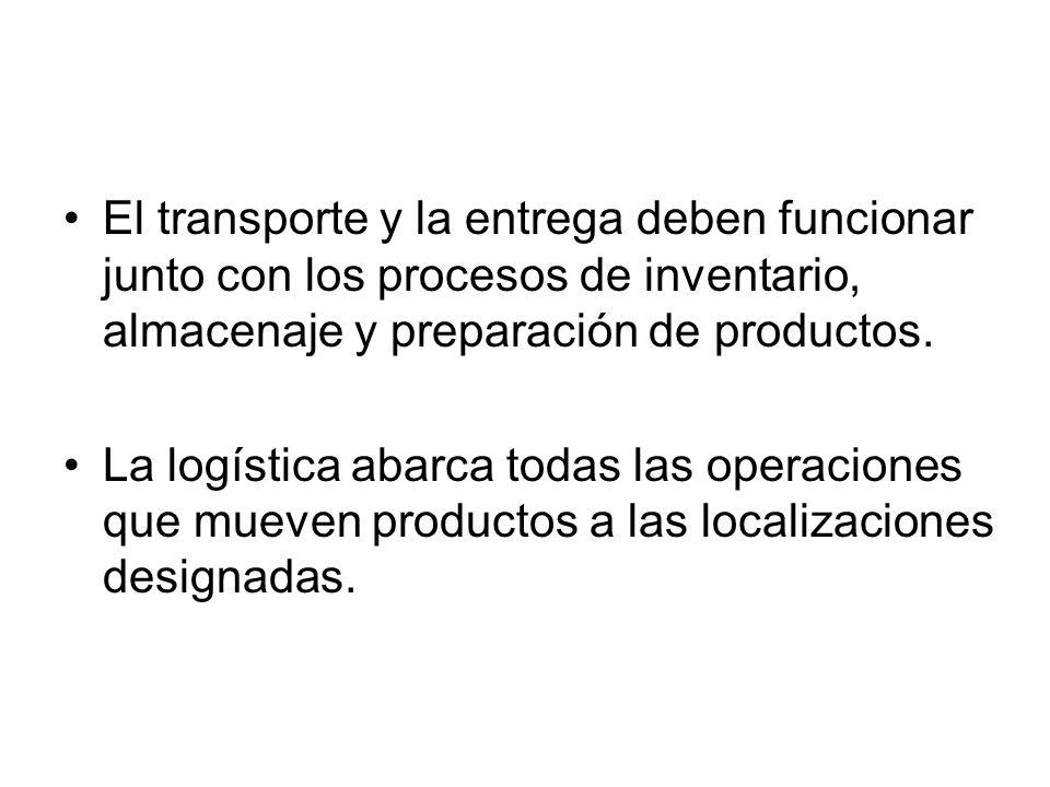 El transporte y la entrega deben funcionar junto con los procesos de inventario, almacenaje y preparación de productos. La logística abarca todas las