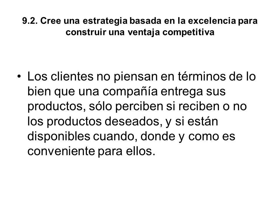 9.2. Cree una estrategia basada en la excelencia para construir una ventaja competitiva Los clientes no piensan en términos de lo bien que una compañí
