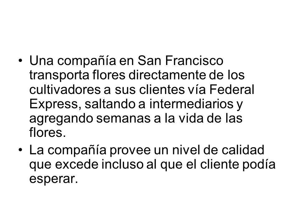 Una compañía en San Francisco transporta flores directamente de los cultivadores a sus clientes vía Federal Express, saltando a intermediarios y agreg