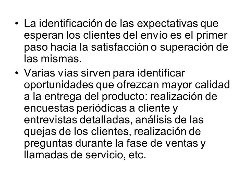 La identificación de las expectativas que esperan los clientes del envío es el primer paso hacia la satisfacción o superación de las mismas. Varias ví