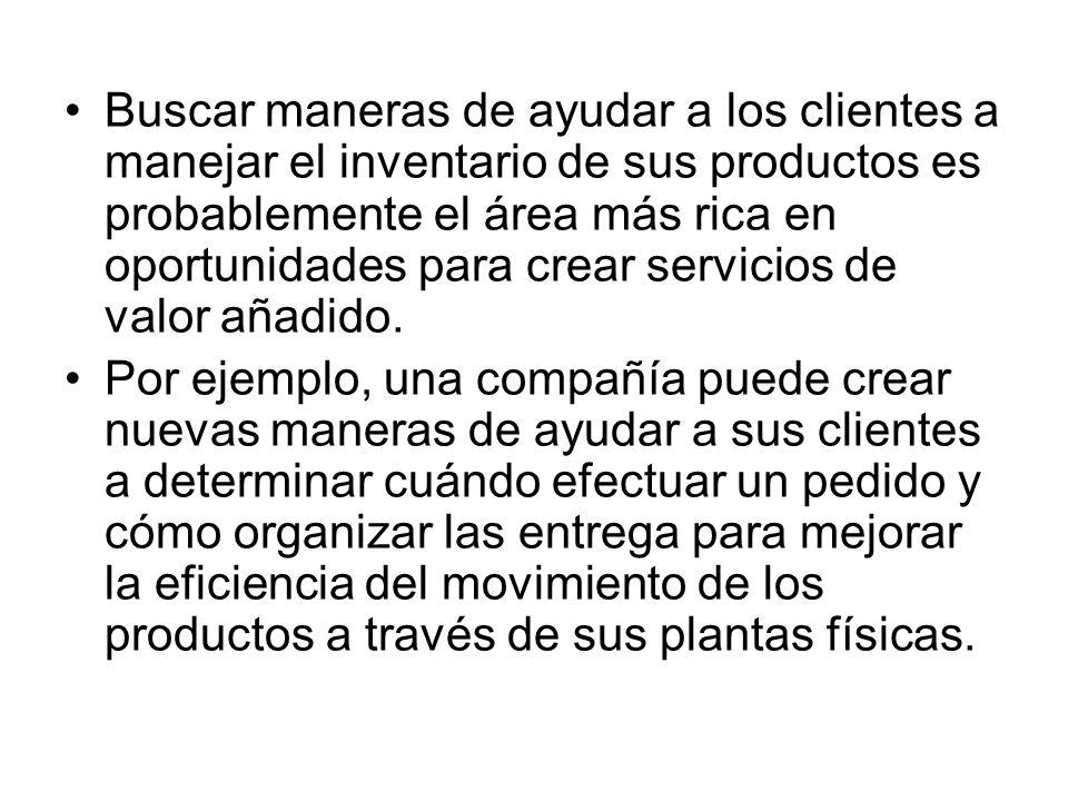 Buscar maneras de ayudar a los clientes a manejar el inventario de sus productos es probablemente el área más rica en oportunidades para crear servici