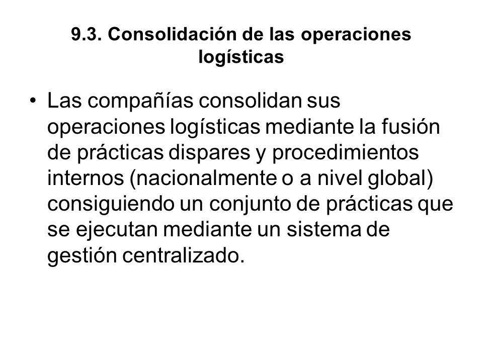 9.3. Consolidación de las operaciones logísticas Las compañías consolidan sus operaciones logísticas mediante la fusión de prácticas dispares y proced