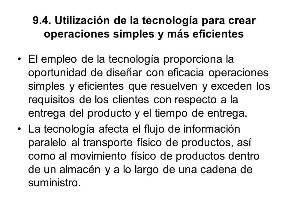 9.4. Utilización de la tecnología para crear operaciones simples y más eficientes El empleo de la tecnología proporciona la oportunidad de diseñar con