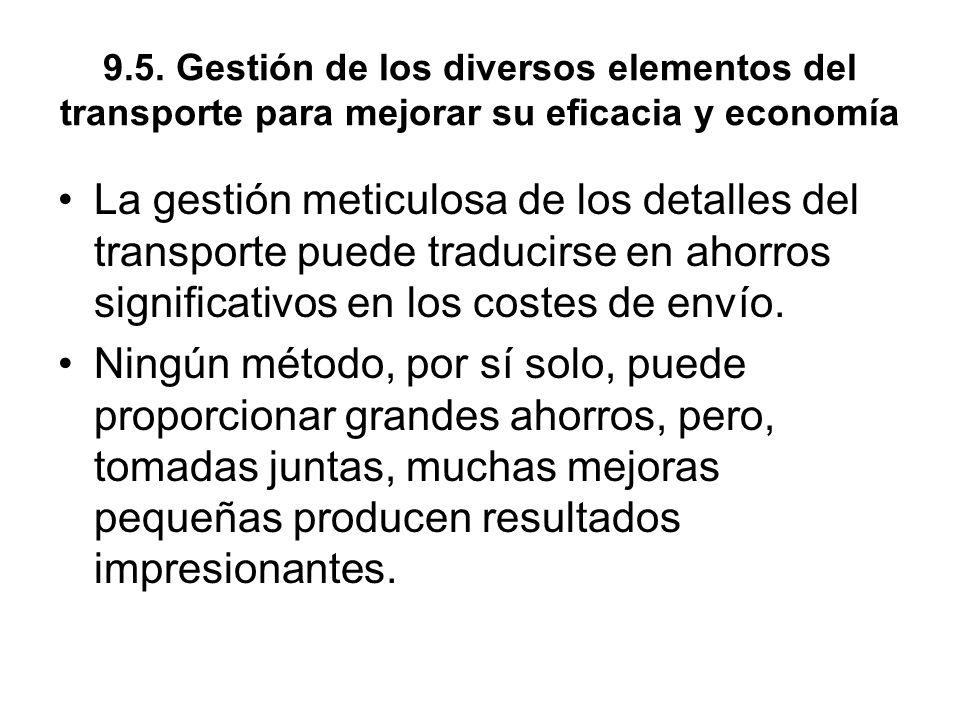 9.5. Gestión de los diversos elementos del transporte para mejorar su eficacia y economía La gestión meticulosa de los detalles del transporte puede t