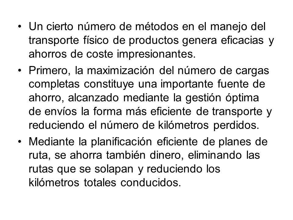 Un cierto número de métodos en el manejo del transporte físico de productos genera eficacias y ahorros de coste impresionantes. Primero, la maximizaci