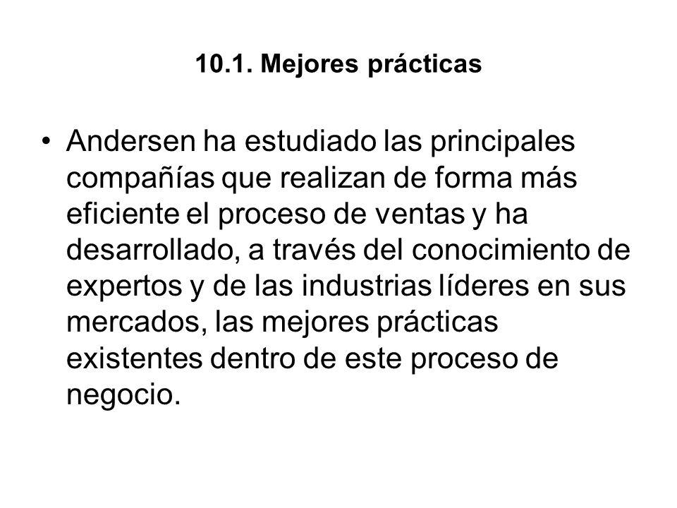 10.1. Mejores prácticas Andersen ha estudiado las principales compañías que realizan de forma más eficiente el proceso de ventas y ha desarrollado, a