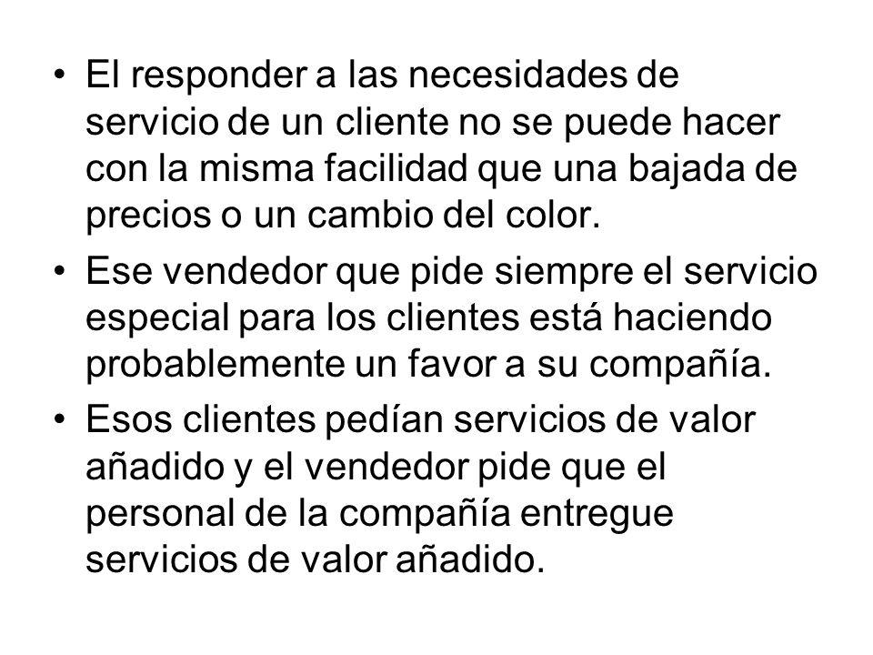 El responder a las necesidades de servicio de un cliente no se puede hacer con la misma facilidad que una bajada de precios o un cambio del color. Ese