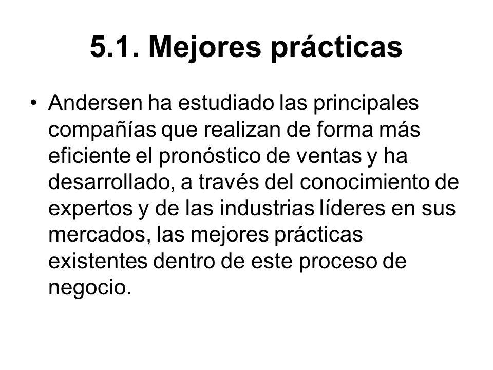 5.1. Mejores prácticas Andersen ha estudiado las principales compañías que realizan de forma más eficiente el pronóstico de ventas y ha desarrollado,