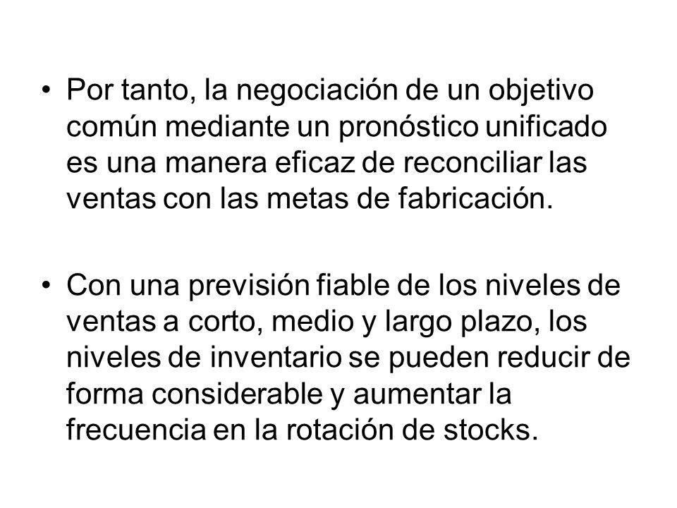 Por tanto, la negociación de un objetivo común mediante un pronóstico unificado es una manera eficaz de reconciliar las ventas con las metas de fabric