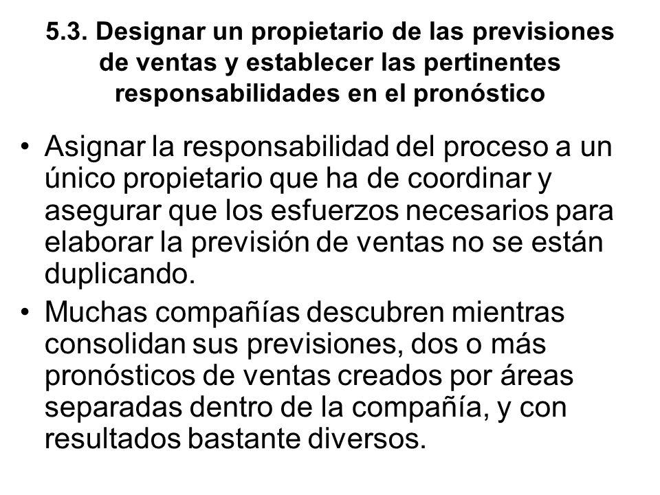 5.3. Designar un propietario de las previsiones de ventas y establecer las pertinentes responsabilidades en el pronóstico Asignar la responsabilidad d