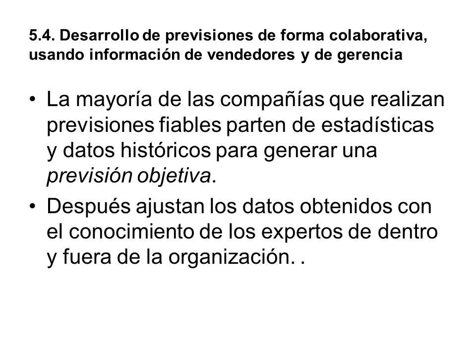 5.4. Desarrollo de previsiones de forma colaborativa, usando información de vendedores y de gerencia La mayoría de las compañías que realizan previsio