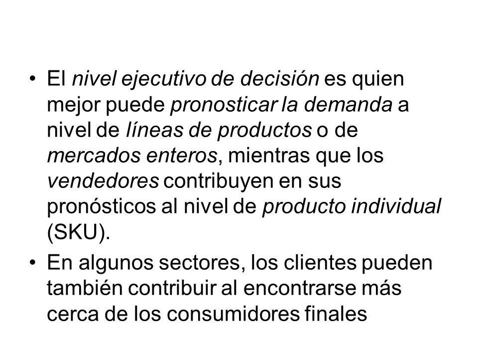 El nivel ejecutivo de decisión es quien mejor puede pronosticar la demanda a nivel de líneas de productos o de mercados enteros, mientras que los vend