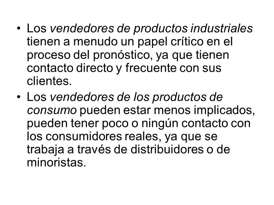 Los vendedores de productos industriales tienen a menudo un papel crítico en el proceso del pronóstico, ya que tienen contacto directo y frecuente con