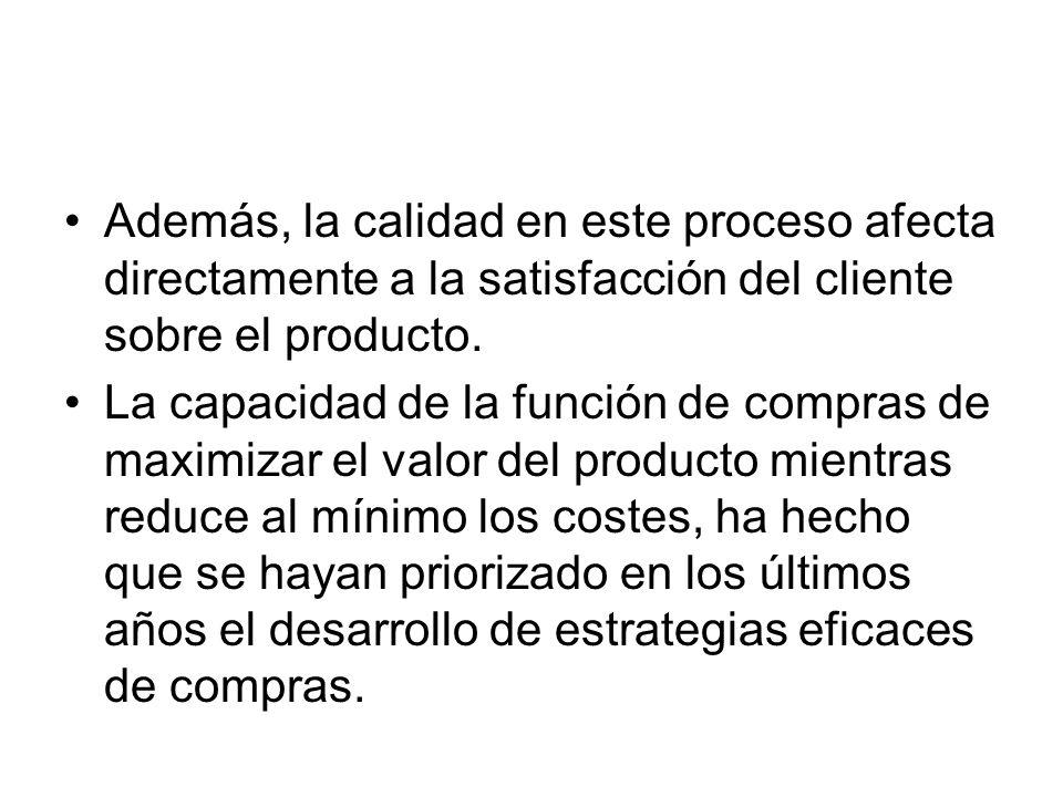 Además, la calidad en este proceso afecta directamente a la satisfacción del cliente sobre el producto. La capacidad de la función de compras de maxim