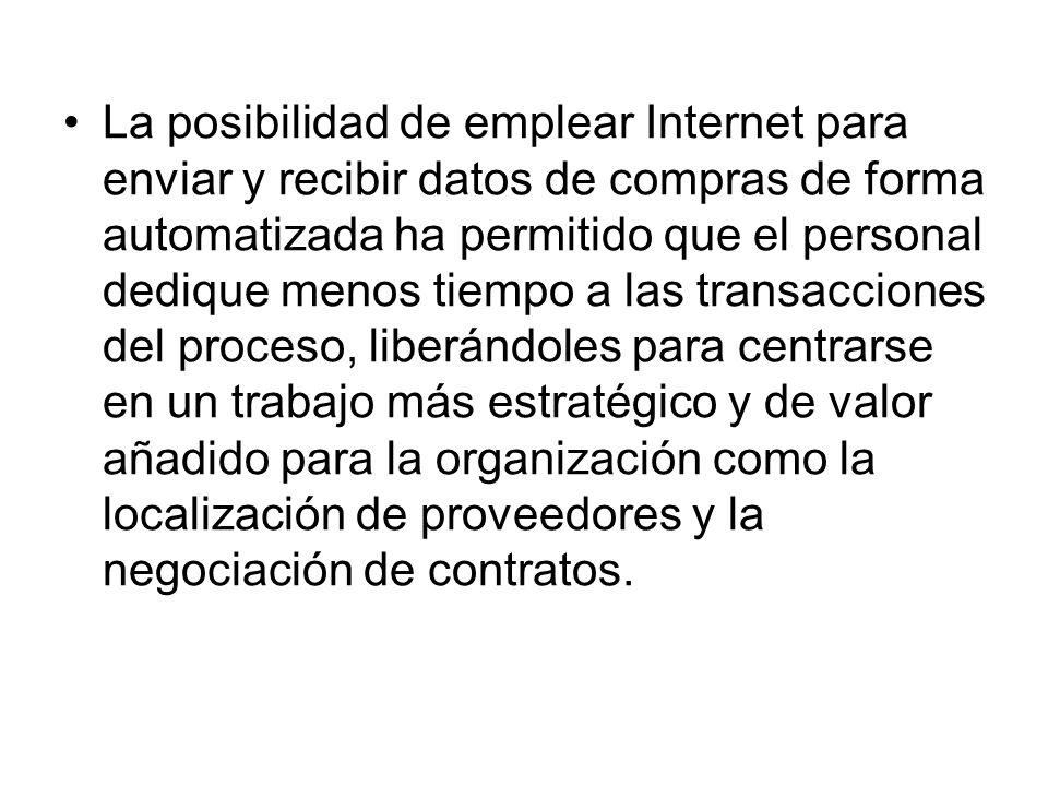 La posibilidad de emplear Internet para enviar y recibir datos de compras de forma automatizada ha permitido que el personal dedique menos tiempo a la
