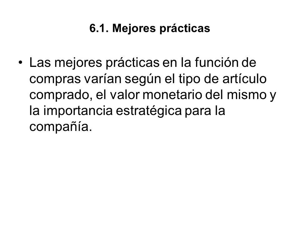 6.1. Mejores prácticas Las mejores prácticas en la función de compras varían según el tipo de artículo comprado, el valor monetario del mismo y la imp
