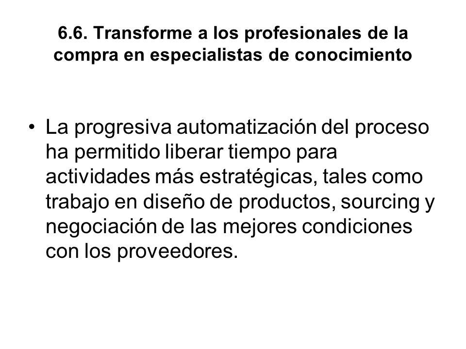 6.6. Transforme a los profesionales de la compra en especialistas de conocimiento La progresiva automatización del proceso ha permitido liberar tiempo